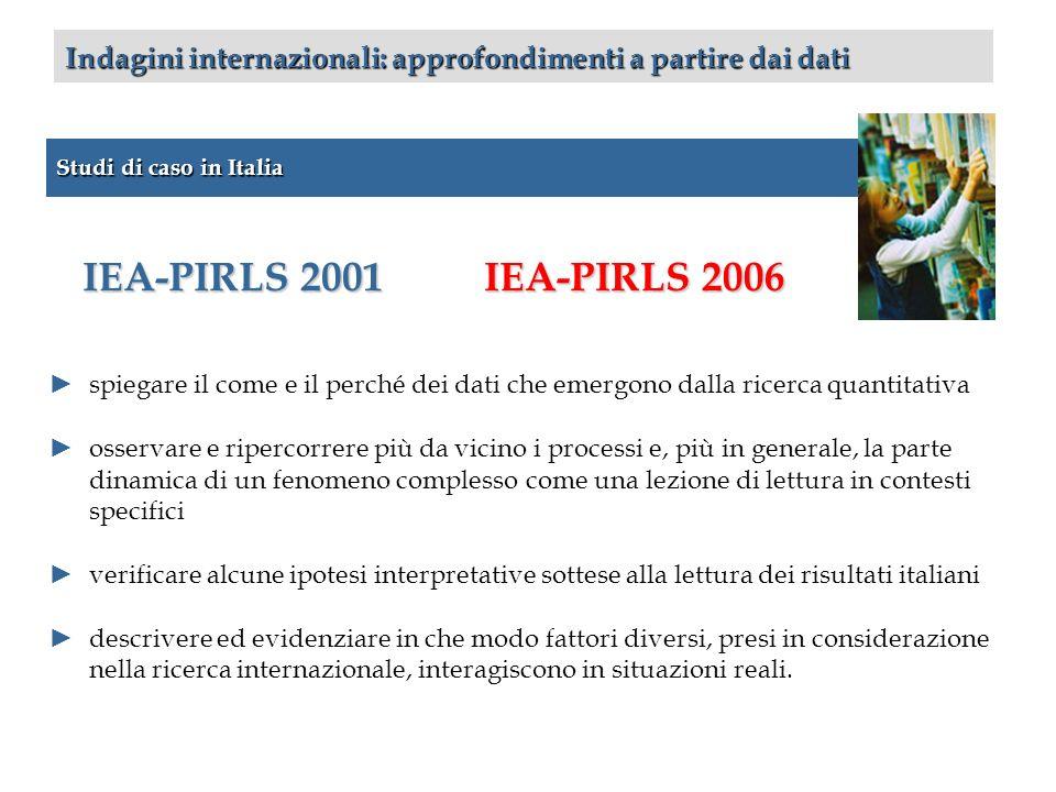 Studi di caso in Italia Indagini internazionali: approfondimenti a partire dai dati IEA-PIRLS 2001 spiegare il come e il perché dei dati che emergono
