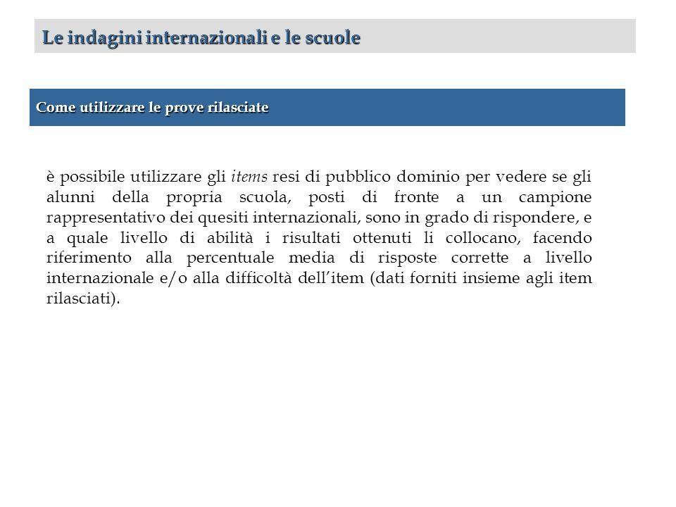 Come utilizzare le prove rilasciate Le indagini internazionali e le scuole è possibile utilizzare gli items resi di pubblico dominio per vedere se gli