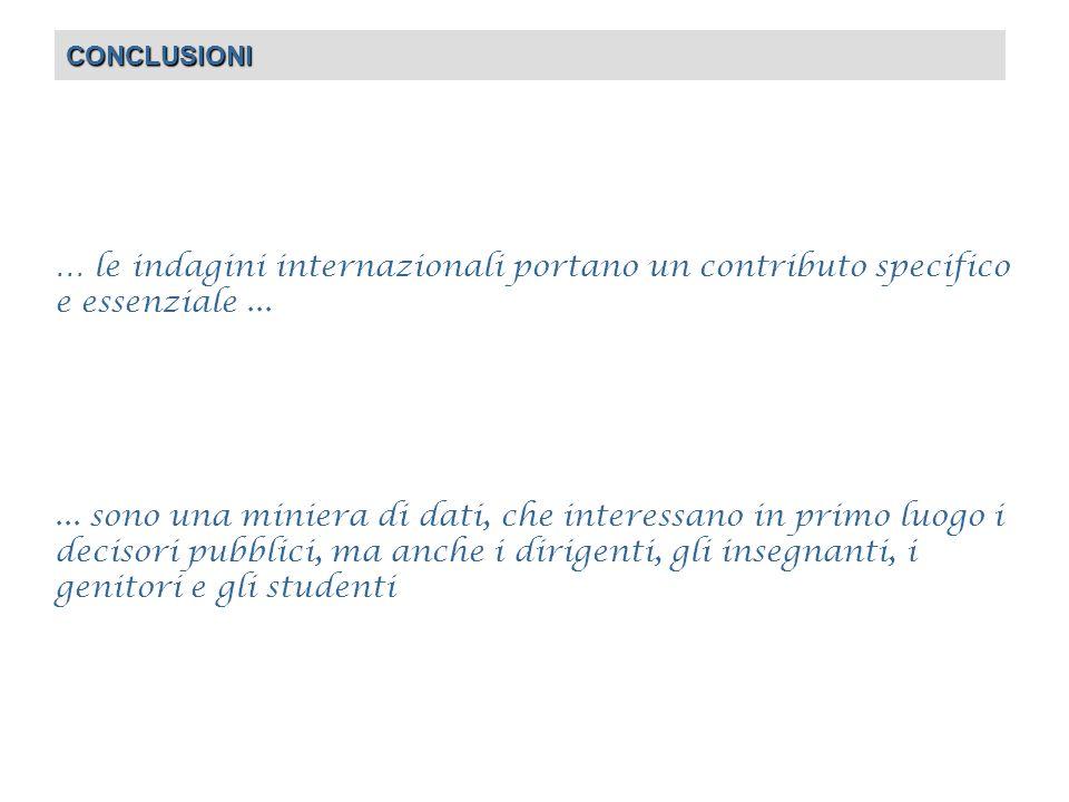 CONCLUSIONI … le indagini internazionali portano un contributo specifico e essenziale......