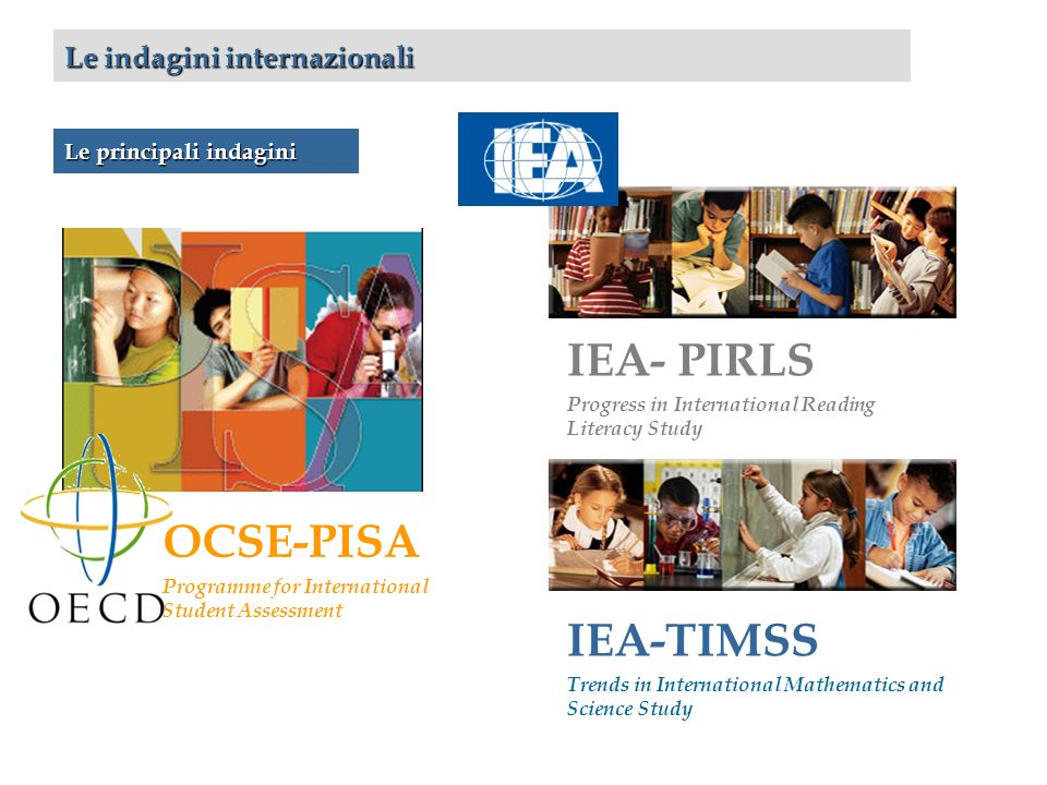 Le indagini internazionali IEA- PIRLS Progress in International Reading Literacy Study IEA-TIMSS Trends in International Mathematics and Science Study