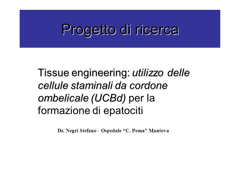 Progetto di ricerca Tissue engineering: utilizzo delle cellule staminali da cordone ombelicale (UCBd) Tissue engineering: utilizzo delle cellule stami