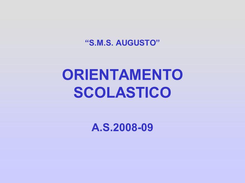 S.M.S. AUGUSTO ORIENTAMENTO SCOLASTICO A.S.2008-09