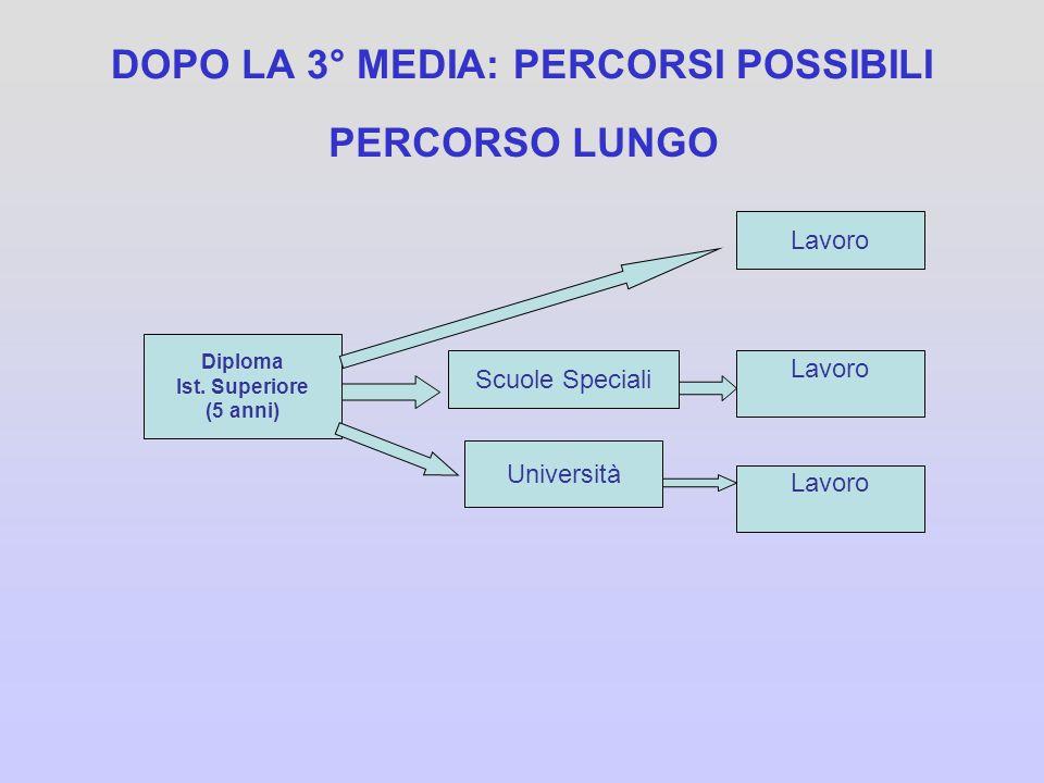 DOPO LA 3° MEDIA: PERCORSI POSSIBILI PERCORSO LUNGO Diploma Ist. Superiore (5 anni) Scuole Speciali Università Lavoro