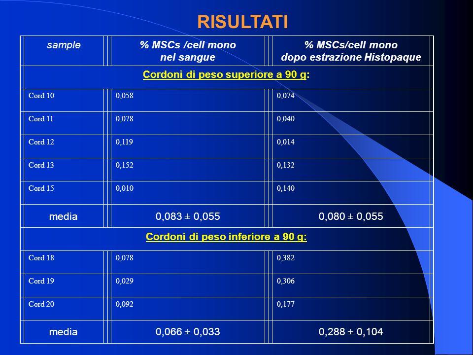 RISULTATI sample% MSCs /cell mono nel sangue % MSCs/cell mono dopo estrazione Histopaque Cordoni di peso superiore a 90 g: Cord 100,0580,074 Cord 110,0780,040 Cord 120,1190,014 Cord 130,1520,132 Cord 150,0100,140 media0,083 ± 0,0550,080 ± 0,055 Cordoni di peso inferiore a 90 g: Cord 180,0780,382 Cord 190,0290,306 Cord 200,0920,177 media0,066 ± 0,0330,288 ± 0,104