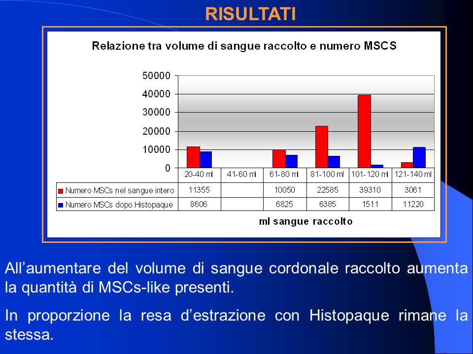 Allaumentare del volume di sangue cordonale raccolto aumenta la quantità di MSCs-like presenti.