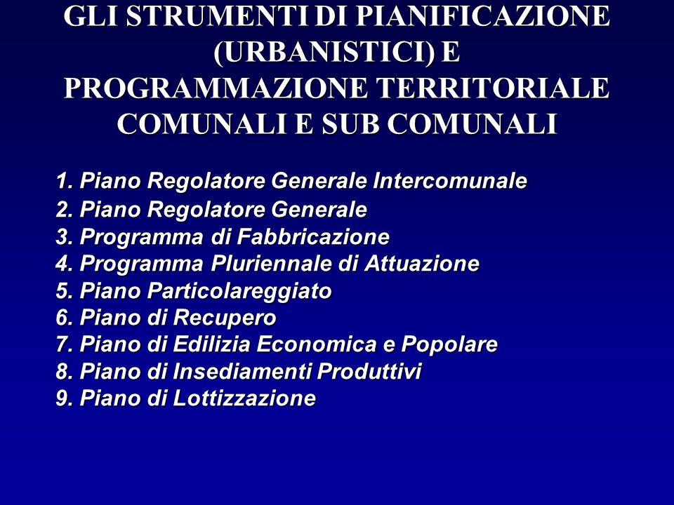 GLI STRUMENTI DI PIANIFICAZIONE (URBANISTICI) E PROGRAMMAZIONE TERRITORIALE COMUNALI E SUB COMUNALI 1. Piano Regolatore Generale Intercomunale 2. Pian