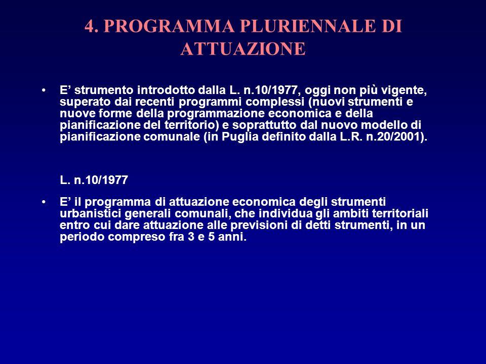 4. PROGRAMMA PLURIENNALE DI ATTUAZIONE E strumento introdotto dalla L. n.10/1977, oggi non più vigente, superato dai recenti programmi complessi (nuov