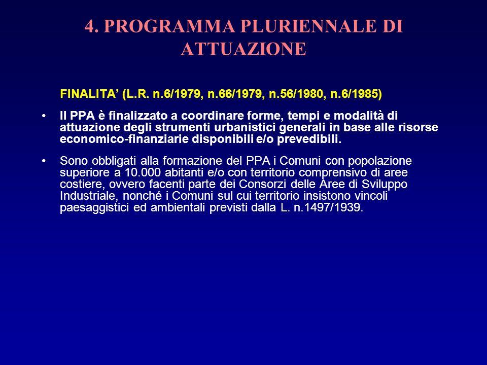 4. PROGRAMMA PLURIENNALE DI ATTUAZIONE FINALITA (L.R. n.6/1979, n.66/1979, n.56/1980, n.6/1985) Il PPA è finalizzato a coordinare forme, tempi e modal