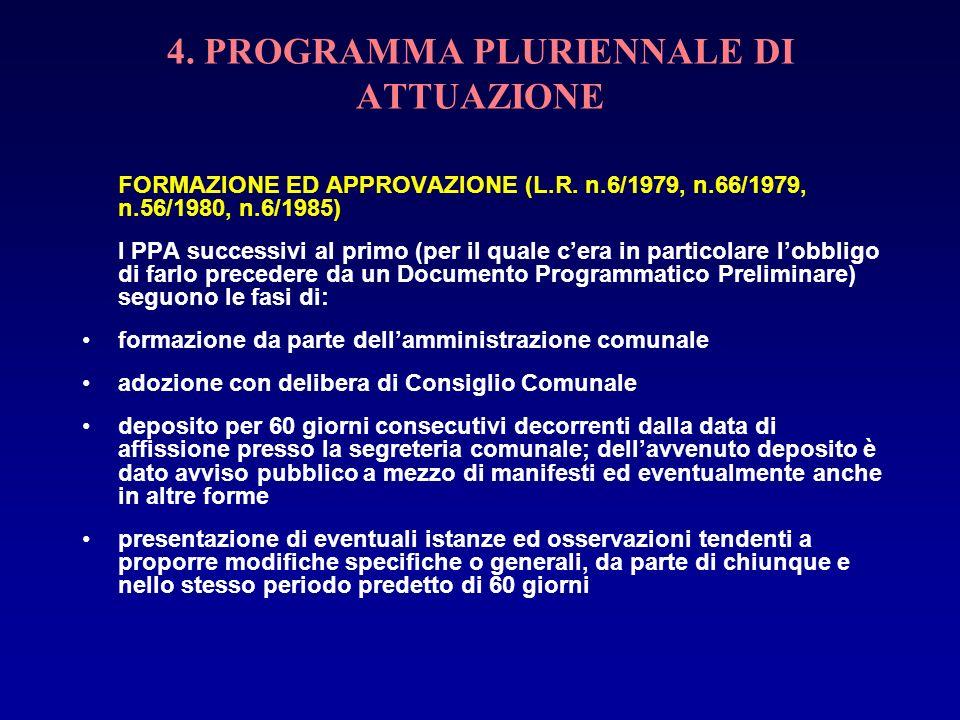 4. PROGRAMMA PLURIENNALE DI ATTUAZIONE FORMAZIONE ED APPROVAZIONE (L.R. n.6/1979, n.66/1979, n.56/1980, n.6/1985) I PPA successivi al primo (per il qu