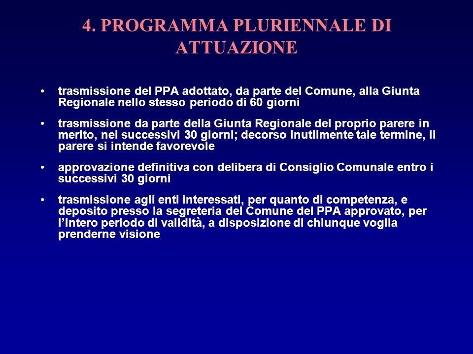 4. PROGRAMMA PLURIENNALE DI ATTUAZIONE trasmissione del PPA adottato, da parte del Comune, alla Giunta Regionale nello stesso periodo di 60 giorni tra