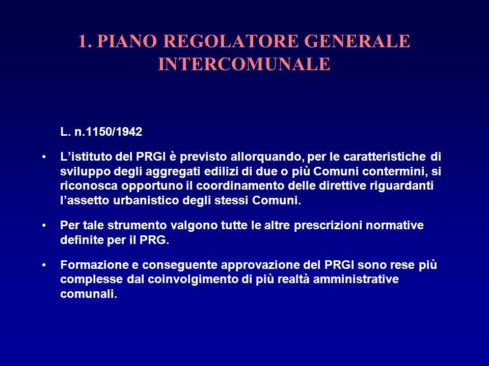 1. PIANO REGOLATORE GENERALE INTERCOMUNALE L. n.1150/1942 Listituto del PRGI è previsto allorquando, per le caratteristiche di sviluppo degli aggregat