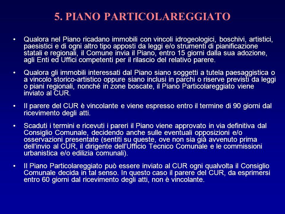 5. PIANO PARTICOLAREGGIATO Qualora nel Piano ricadano immobili con vincoli idrogeologici, boschivi, artistici, paesistici e di ogni altro tipo apposti