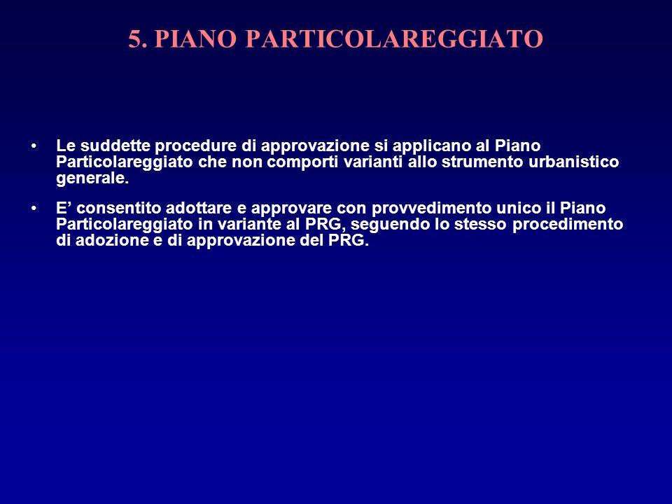 5. PIANO PARTICOLAREGGIATO Le suddette procedure di approvazione si applicano al Piano Particolareggiato che non comporti varianti allo strumento urba