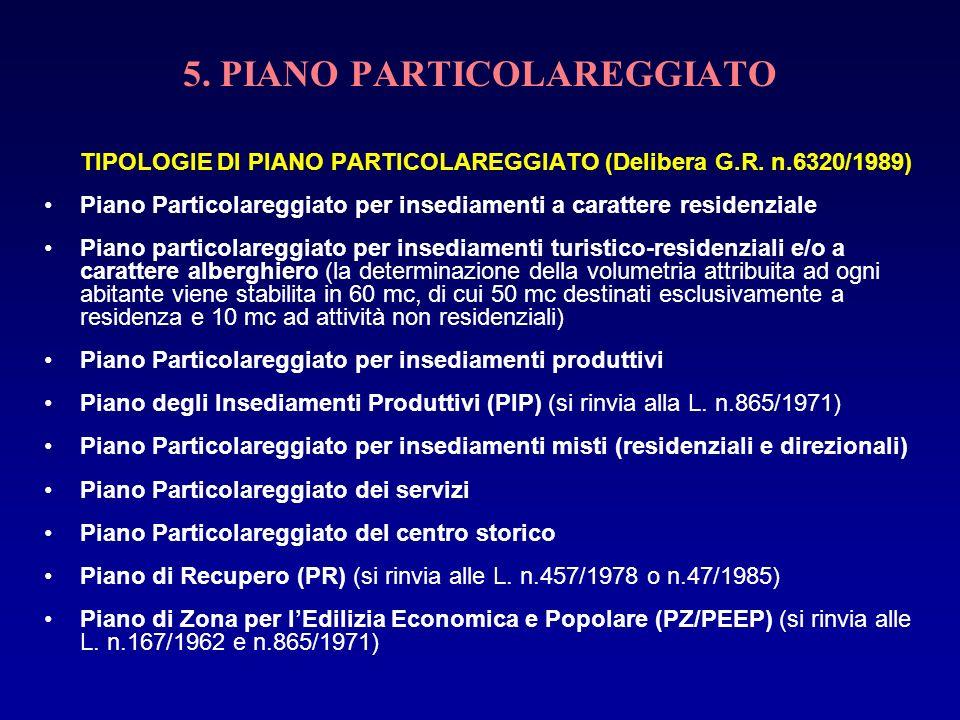 5. PIANO PARTICOLAREGGIATO TIPOLOGIE DI PIANO PARTICOLAREGGIATO (Delibera G.R. n.6320/1989) Piano Particolareggiato per insediamenti a carattere resid