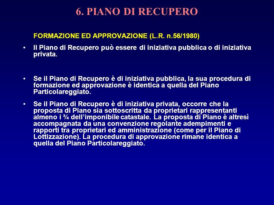 6. PIANO DI RECUPERO FORMAZIONE ED APPROVAZIONE (L.R. n.56/1980) Il Piano di Recupero può essere di iniziativa pubblica o di iniziativa privata. Se il