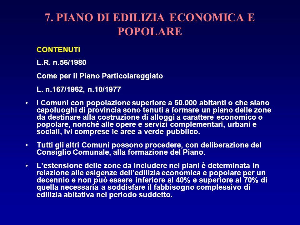 7. PIANO DI EDILIZIA ECONOMICA E POPOLARE CONTENUTI L.R. n.56/1980 Come per il Piano Particolareggiato L. n.167/1962, n.10/1977 I Comuni con popolazio