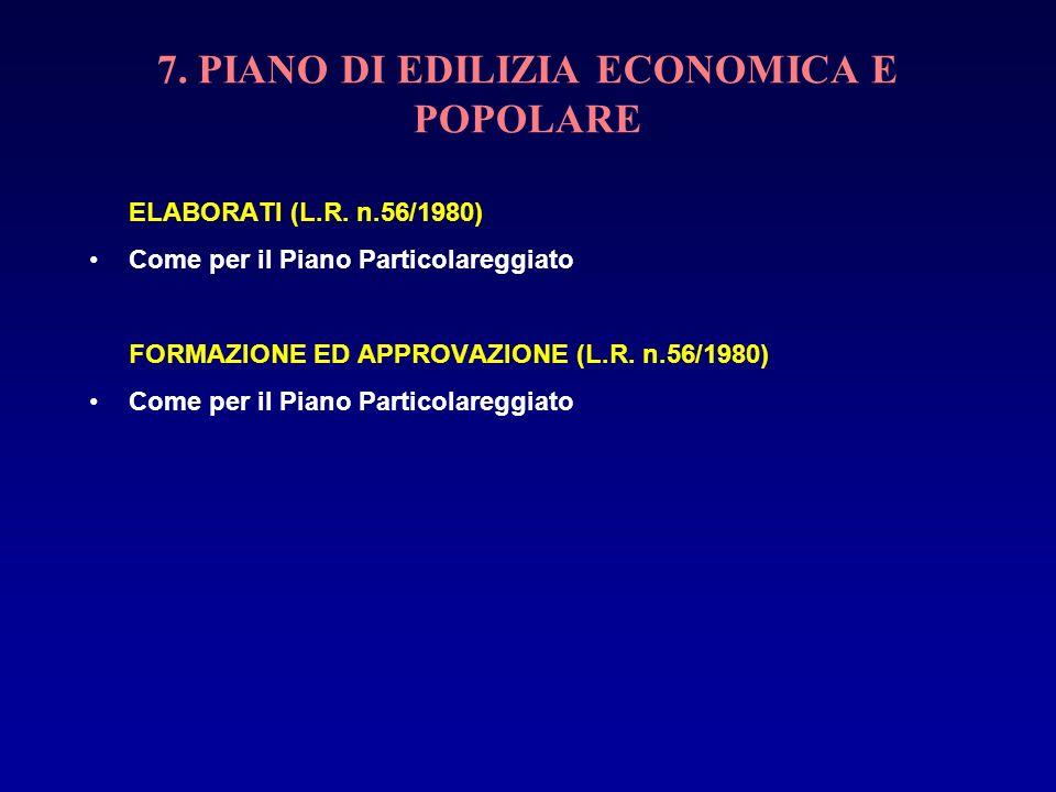 7. PIANO DI EDILIZIA ECONOMICA E POPOLARE ELABORATI (L.R. n.56/1980) Come per il Piano Particolareggiato FORMAZIONE ED APPROVAZIONE (L.R. n.56/1980) C