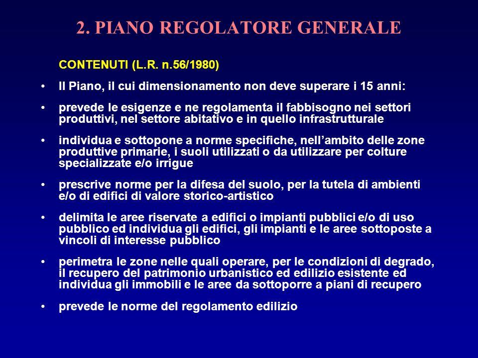 2. PIANO REGOLATORE GENERALE CONTENUTI (L.R. n.56/1980) Il Piano, il cui dimensionamento non deve superare i 15 anni: prevede le esigenze e ne regolam