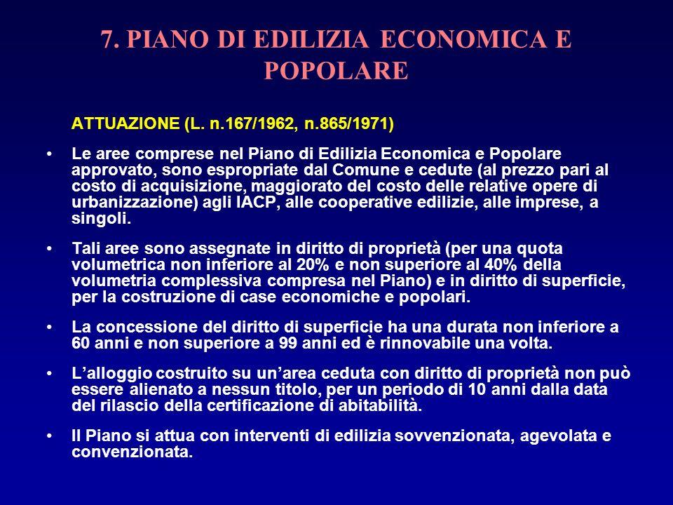 7. PIANO DI EDILIZIA ECONOMICA E POPOLARE ATTUAZIONE (L. n.167/1962, n.865/1971) Le aree comprese nel Piano di Edilizia Economica e Popolare approvato