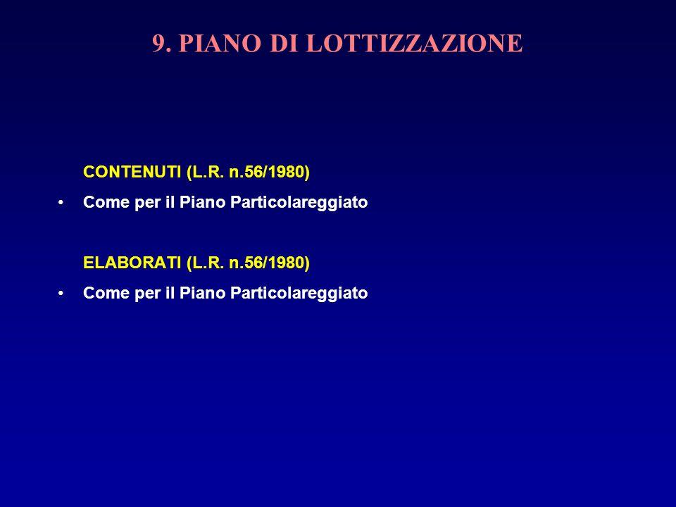 9. PIANO DI LOTTIZZAZIONE CONTENUTI (L.R. n.56/1980) Come per il Piano Particolareggiato ELABORATI (L.R. n.56/1980) Come per il Piano Particolareggiat