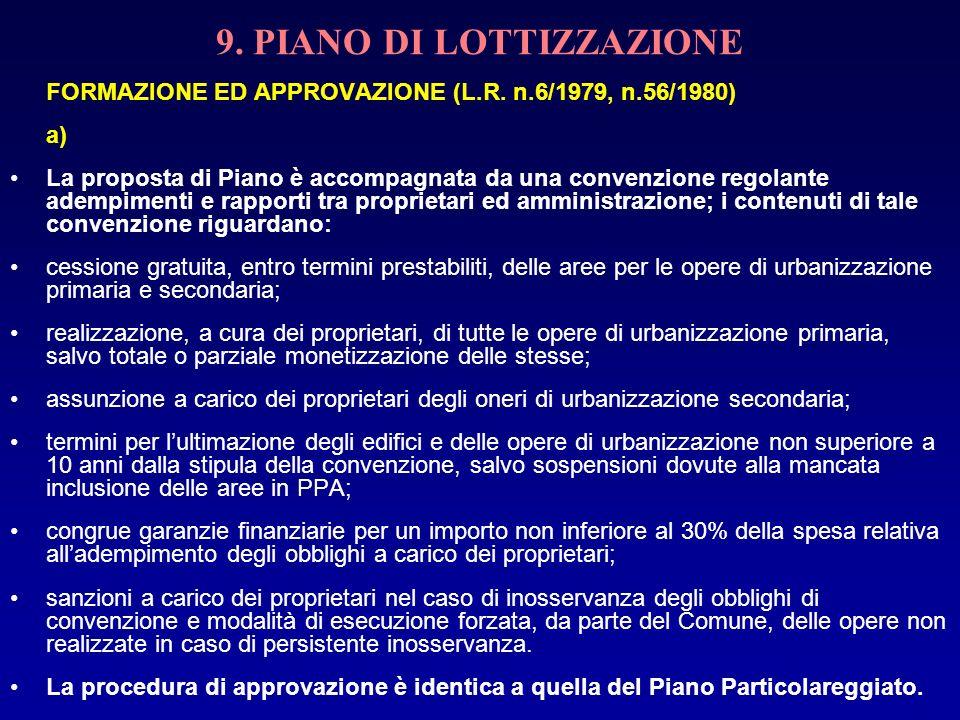 9. PIANO DI LOTTIZZAZIONE FORMAZIONE ED APPROVAZIONE (L.R. n.6/1979, n.56/1980) a) La proposta di Piano è accompagnata da una convenzione regolante ad