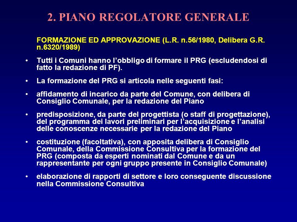 2. PIANO REGOLATORE GENERALE FORMAZIONE ED APPROVAZIONE (L.R. n.56/1980, Delibera G.R. n.6320/1989) Tutti i Comuni hanno lobbligo di formare il PRG (e