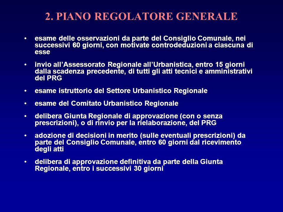 2. PIANO REGOLATORE GENERALE esame delle osservazioni da parte del Consiglio Comunale, nei successivi 60 giorni, con motivate controdeduzioni a ciascu