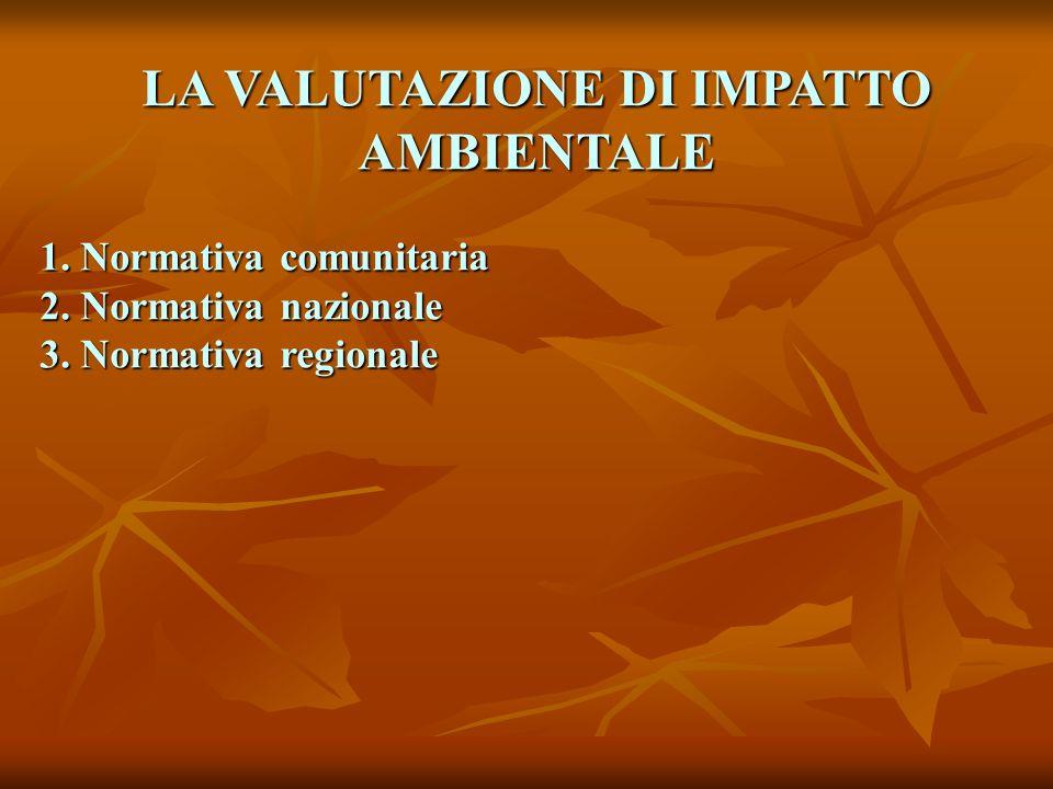 LA VALUTAZIONE DI IMPATTO AMBIENTALE 1.Normativa comunitaria 2.