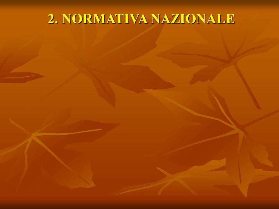 2. NORMATIVA NAZIONALE 2. NORMATIVA NAZIONALE