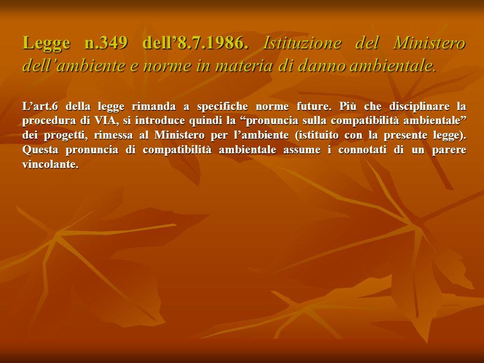 Legge n.349 dell8.7.1986.