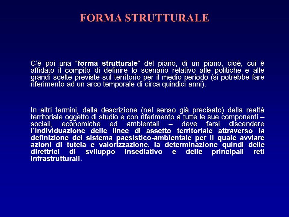 FORMA STRUTTURALE Cè poi una forma strutturale del piano, di un piano, cioè, cui è affidato il compito di definire lo scenario relativo alle politiche