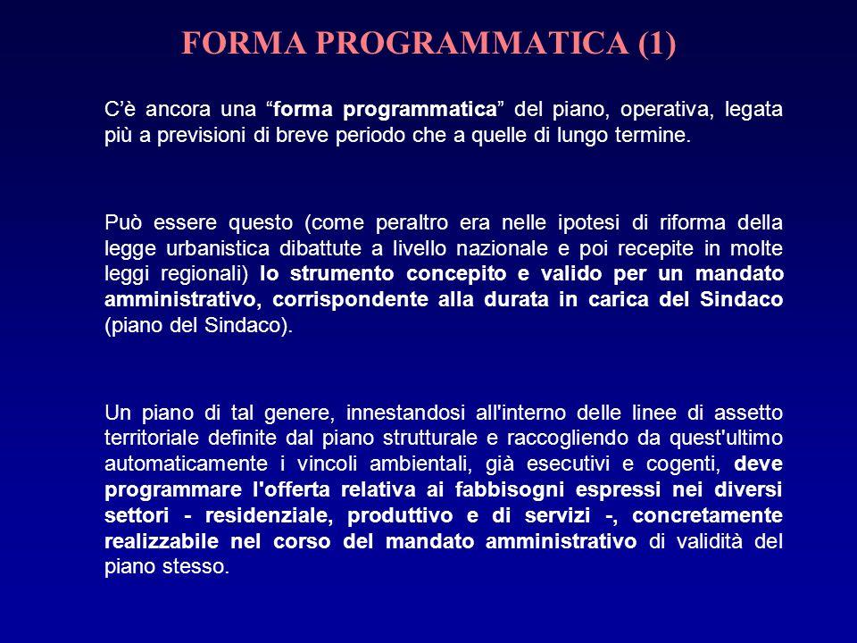 FORMA PROGRAMMATICA (1) Cè ancora una forma programmatica del piano, operativa, legata più a previsioni di breve periodo che a quelle di lungo termine.