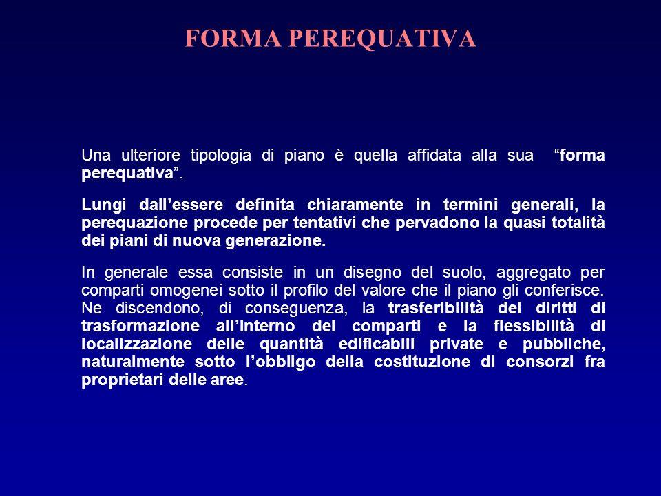 FORMA PEREQUATIVA Una ulteriore tipologia di piano è quella affidata alla sua forma perequativa.