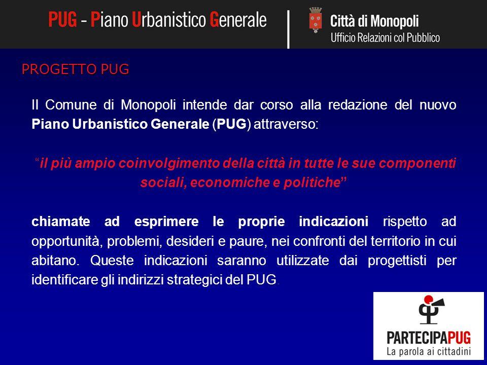 Il Comune di Monopoli intende dar corso alla redazione del nuovo Piano Urbanistico Generale (PUG) attraverso: il più ampio coinvolgimento della città