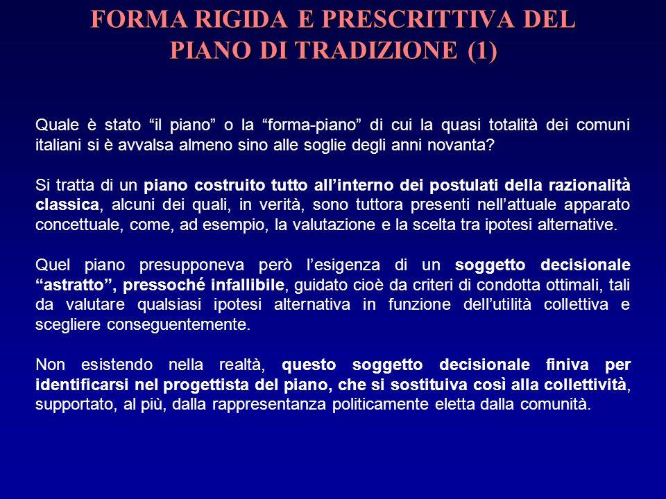 FORMA RIGIDA E PRESCRITTIVA DEL PIANO DI TRADIZIONE (1) Quale è stato il piano o la forma-piano di cui la quasi totalità dei comuni italiani si è avvalsa almeno sino alle soglie degli anni novanta.