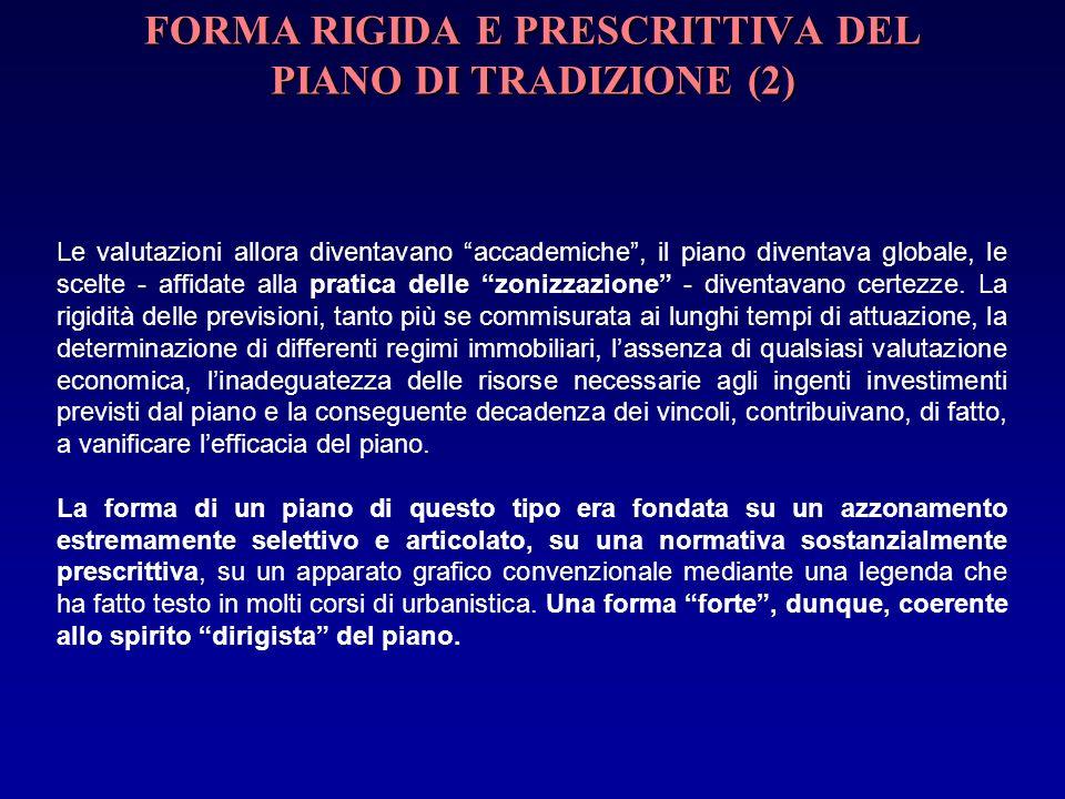 FORMA RIGIDA E PRESCRITTIVA DEL PIANO DI TRADIZIONE (2) Le valutazioni allora diventavano accademiche, il piano diventava globale, le scelte - affidat
