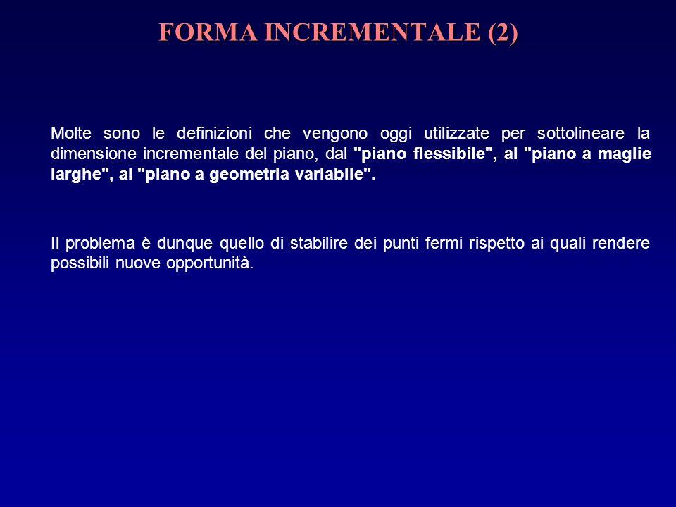 FORMA INCREMENTALE (2) Molte sono le definizioni che vengono oggi utilizzate per sottolineare la dimensione incrementale del piano, dal