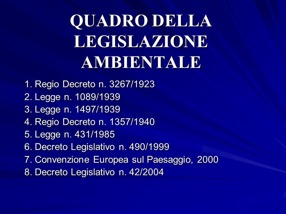 QUADRO DELLA LEGISLAZIONE AMBIENTALE 1. Regio Decreto n. 3267/1923 2. Legge n. 1089/1939 3. Legge n. 1497/1939 4. Regio Decreto n. 1357/1940 5. Legge