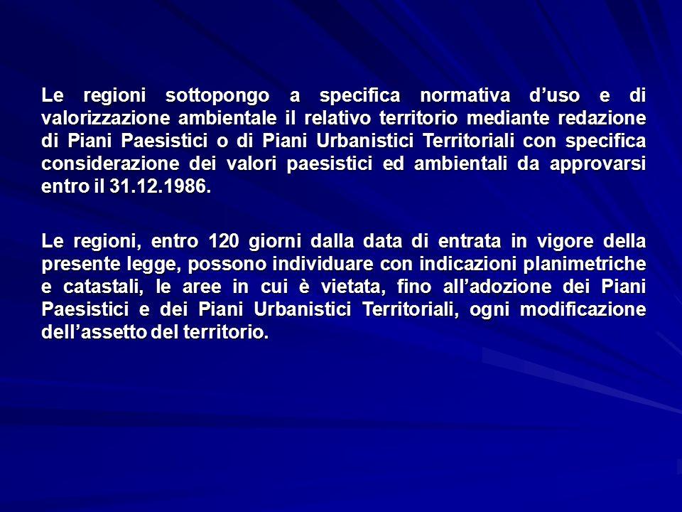 Le regioni sottopongo a specifica normativa duso e di valorizzazione ambientale il relativo territorio mediante redazione di Piani Paesistici o di Pia