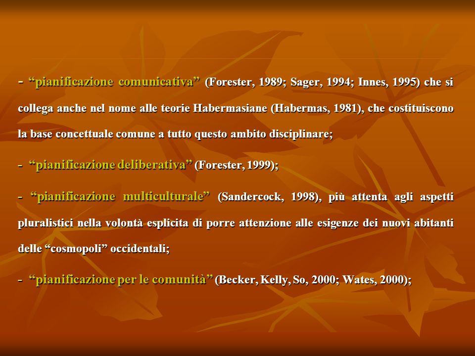 - pianificazione comunicativa (Forester, 1989; Sager, 1994; Innes, 1995) che si collega anche nel nome alle teorie Habermasiane (Habermas, 1981), che