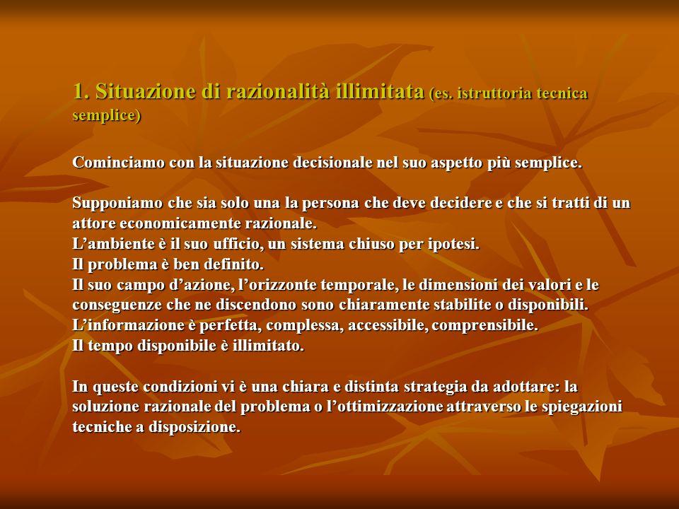 1. Situazione di razionalità illimitata (es. istruttoria tecnica semplice) Cominciamo con la situazione decisionale nel suo aspetto più semplice. Supp