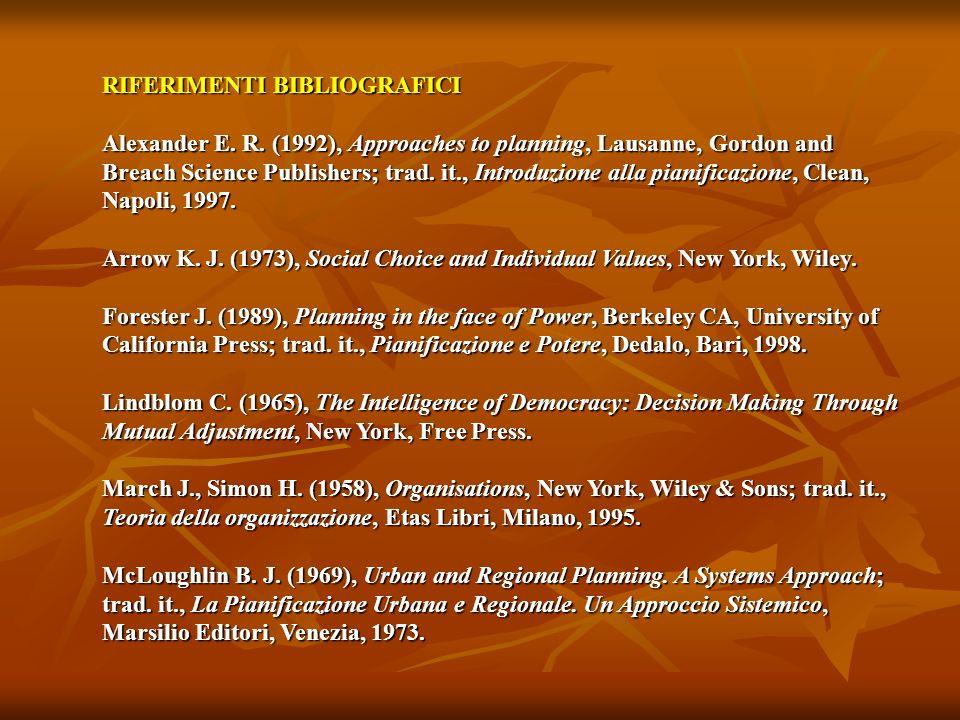 RIFERIMENTI BIBLIOGRAFICI Alexander E. R. (1992), Approaches to planning, Lausanne, Gordon and Breach Science Publishers; trad. it., Introduzione alla