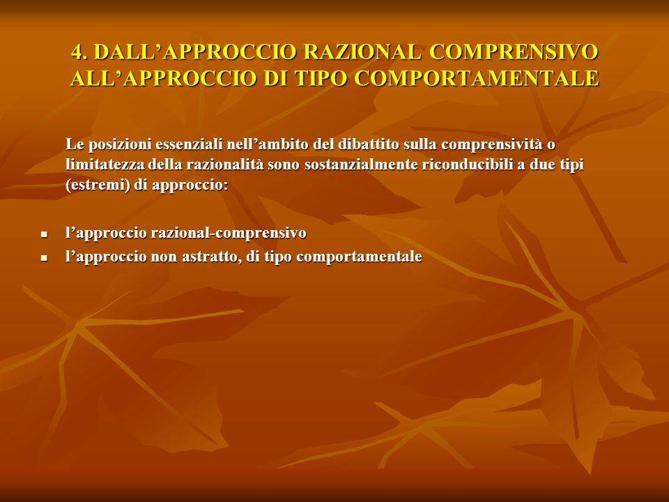 4. DALLAPPROCCIO RAZIONAL COMPRENSIVO ALLAPPROCCIO DI TIPO COMPORTAMENTALE Le posizioni essenziali nellambito del dibattito sulla comprensività o limi