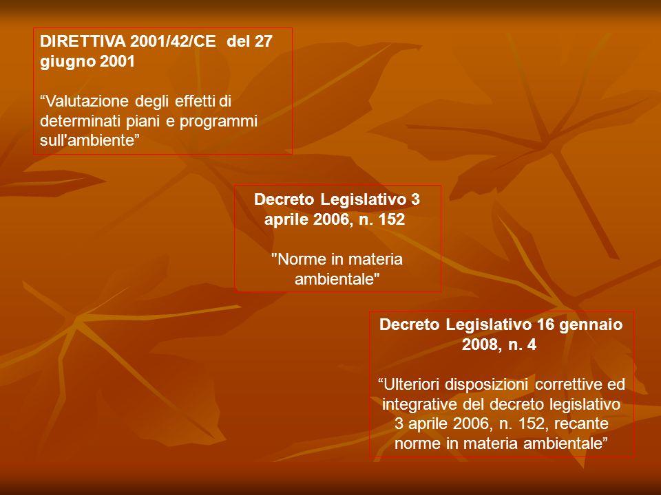 DIRETTIVA 2001/42/CE del 27 giugno 2001 Valutazione degli effetti di determinati piani e programmi sull'ambiente Decreto Legislativo 3 aprile 2006, n.