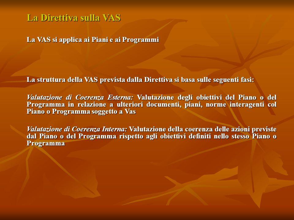 La Direttiva sulla VAS La VAS si applica ai Piani e ai Programmi La struttura della VAS prevista dalla Direttiva si basa sulle seguenti fasi: Valutazi