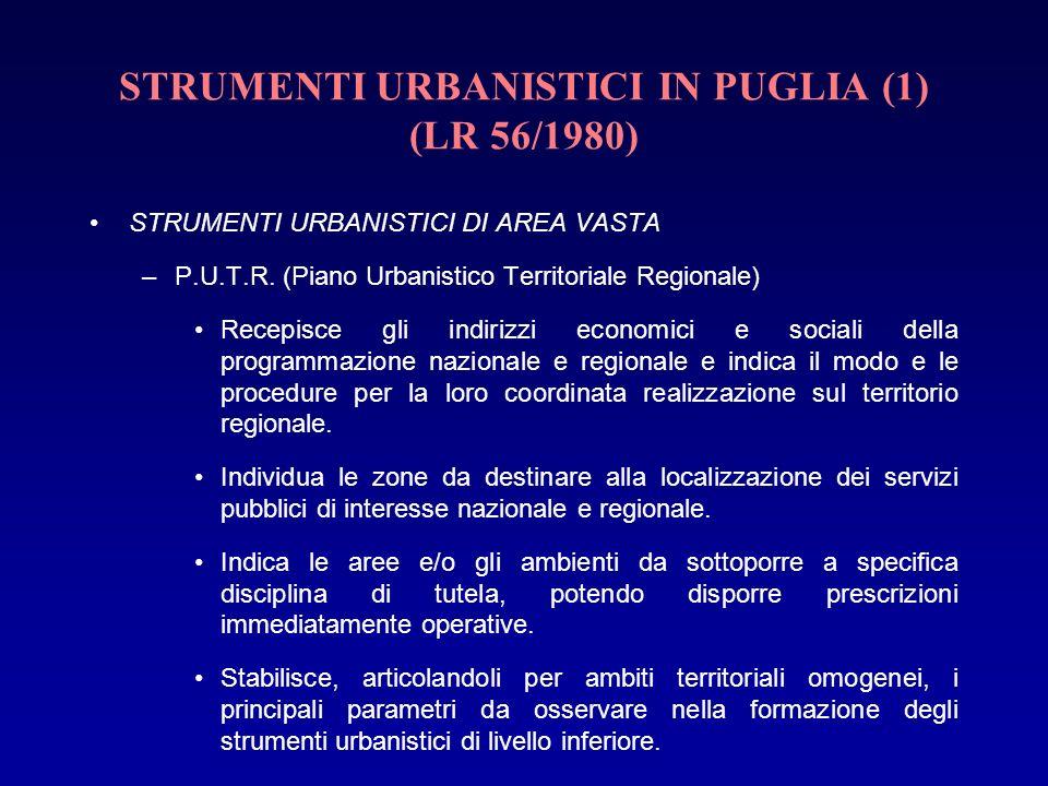STRUMENTI URBANISTICI IN PUGLIA (1) (LR 56/1980) STRUMENTI URBANISTICI DI AREA VASTA –P.U.T.R. (Piano Urbanistico Territoriale Regionale) Recepisce gl