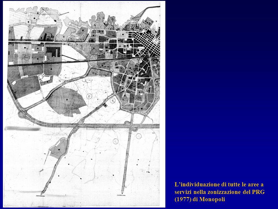 Lindividuazione di tutte le aree a servizi nella zonizzazione del PRG (1977) di Monopoli