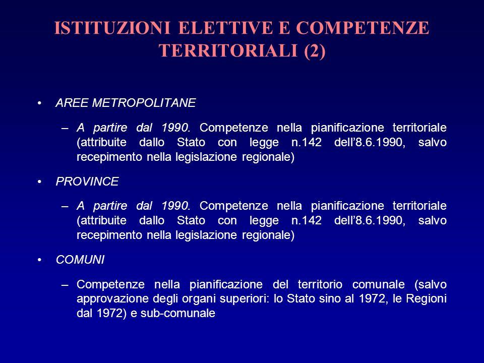ISTITUZIONI ELETTIVE E COMPETENZE TERRITORIALI (2) AREE METROPOLITANE –A partire dal 1990. Competenze nella pianificazione territoriale (attribuite da