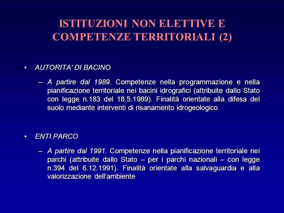 ISTITUZIONI NON ELETTIVE E COMPETENZE TERRITORIALI (2) AUTORITA DI BACINO –A partire dal 1989. Competenze nella programmazione e nella pianificazione