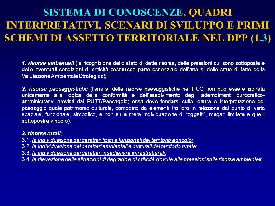 SISTEMA DI CONOSCENZE, QUADRI INTERPRETATIVI, SCENARI DI SVILUPPO E PRIMI SCHEMI DI ASSETTO TERRITORIALE NEL DPP (1.4) 4.